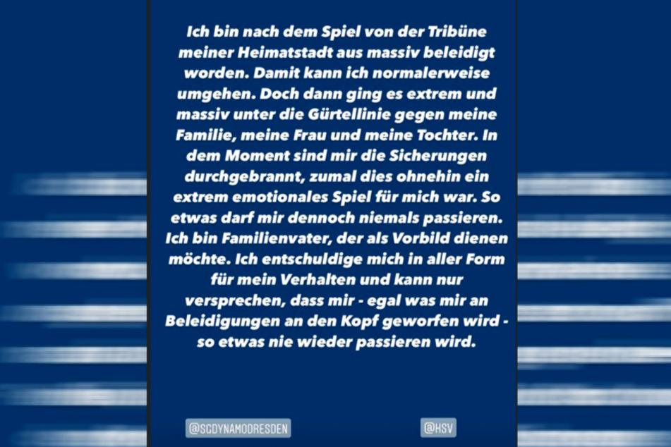 Toni Leistners Insta-Story-Eintrag.