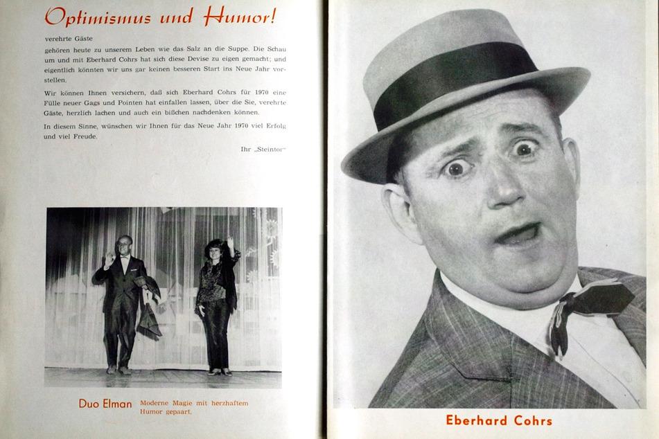 """Dieser Gesichtsausdruck war sein Markenzeichen: So schaute Cohrs 1970 aus dem Programmheft """"Eberhard Cohrs Schau 70"""" vom Steintor Varieté in Halle/Saale."""
