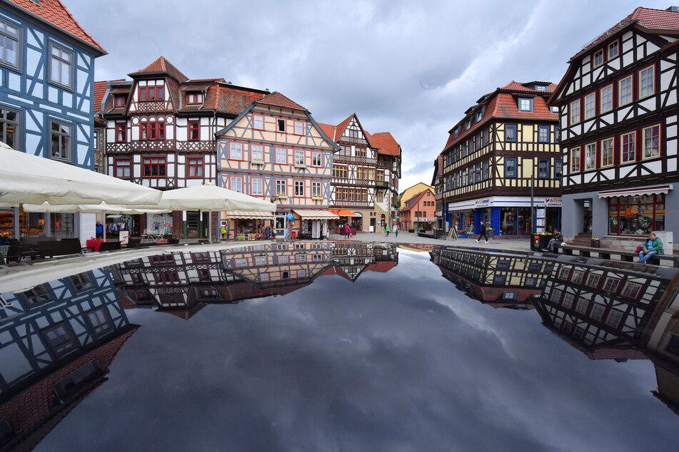 Sanierte Fachwerkhäuser prägen das Bild der historischen Altstadt Schmalkaldens.
