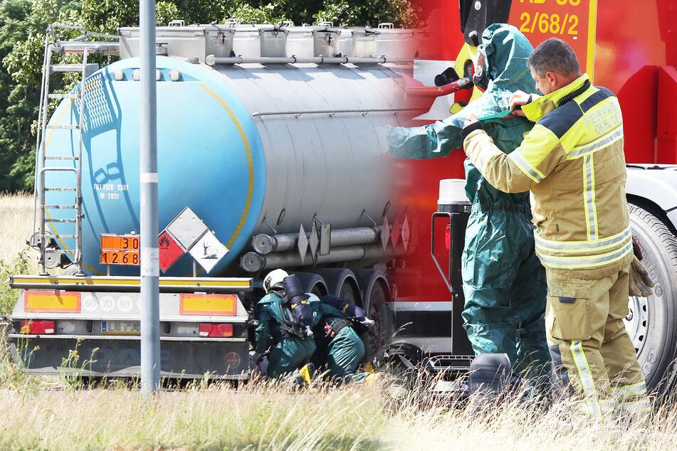 Feuerwehreinsatz in Dresden: Tanklaster verliert brennbare Flüssigkeit