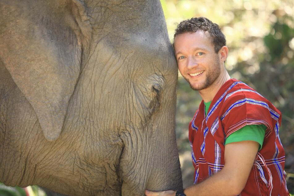 Chris Kaiser (33), der Gründer und CEO von Click A Tree, mit einem Elefanten.