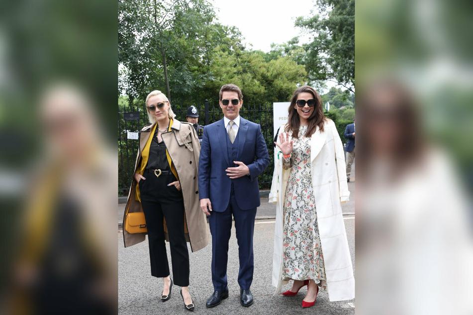 """Betriebsausflug nach Wimbledon: Pom Klementieff (35, v.l.), Tom Cruise (59) und Hayley Atwell (39) stehen derzeit in London für """"Mission Impossible 7"""" vor der Kamera."""