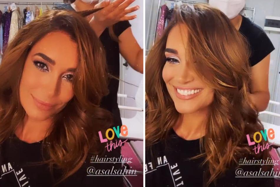 """Jana Ina Zarrella (43) wird nach der Corona-Quarantäne für ihren ersten Auftritt bei """"Love Island"""" geschminkt und frisiert. (Fotomontage)"""