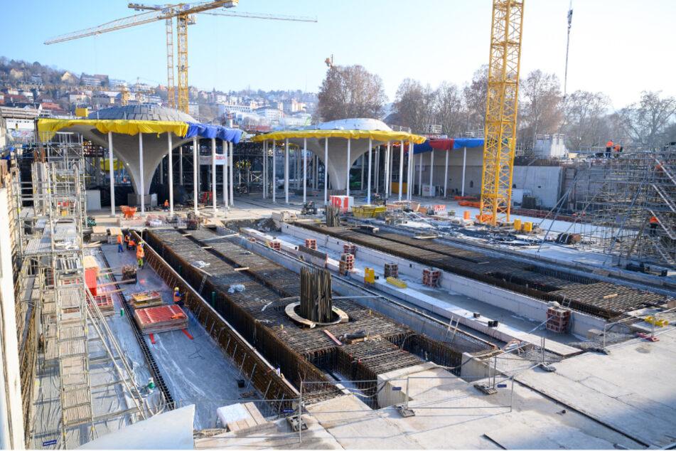 Die Baustelle des zukünftigen Tiefbahnhofs des Bahnprojektes Stuttgart 21.