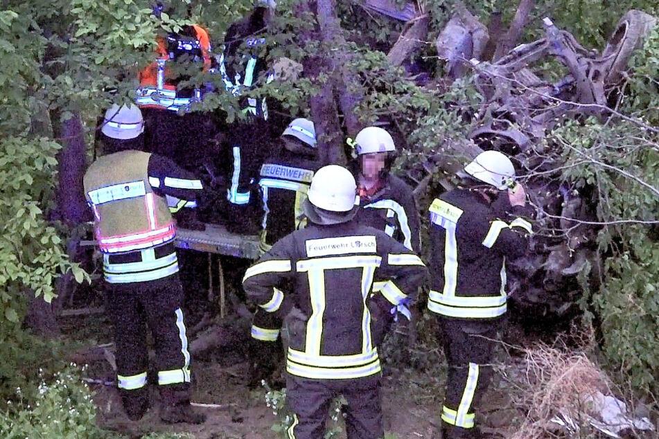 Das Foto zeigt Einsatzkräfte der Feuerwehr in dem Wald bei der A67, im Hintergrund ist der zerstörte Porsche zu sehen.