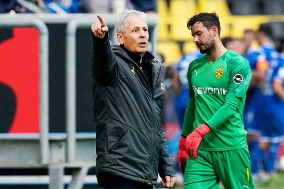 Warum beorderte BVB-Coach Lucien Favre (62.; l.) Roman Bürki (29) nach dessen Genesung nicht wieder ins Tor?