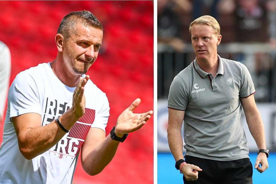 Mersad Selimbegovic (39, links), Trainer des SSV Jahn Regensburg, und Timo Schultz (43), Coach des FC St. Pauli, erwarten ein intensives Duell.