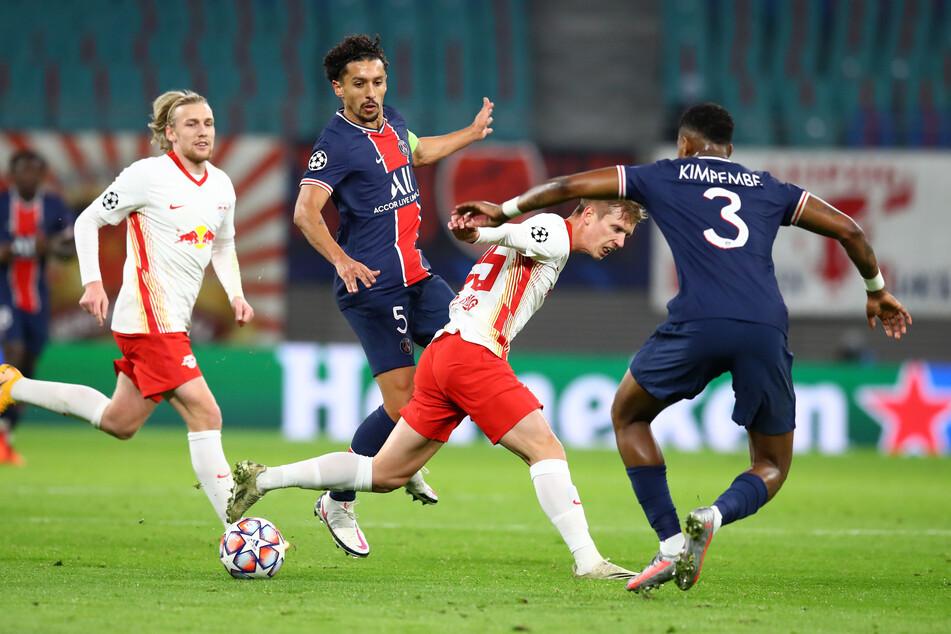 Emil Forsberg (l.) und Dani Olmo werden voraussichtlich für die wichtigen Spiele gegen Manchester United, Basaksehir Istanbul und Bayern München geschont. (Archivbild)