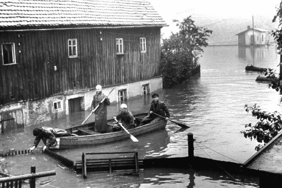 Baywatch früher: Manfred Anders steht beim Hochwasser in Chemnitz-Harthau 1954 im Kahn. Er stieg bis zum Wasserwacht-Chef in Sachsen auf.