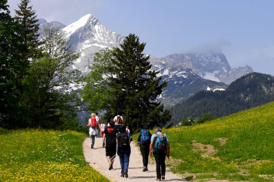 Wanderer gehen am Eckbauer Richtung Alpspitze im Wettersteingebirge. In diesem Corona-Sommer stürmen Erholungssuchende mehr denn je Bayerns Alpenidylle.