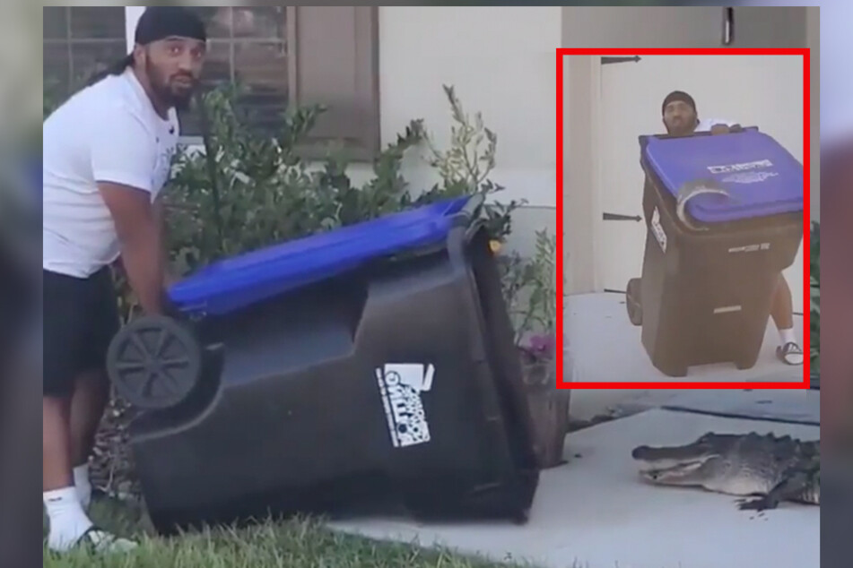 Florida man gets crafty with a trash can in efforts to fend off an alligator