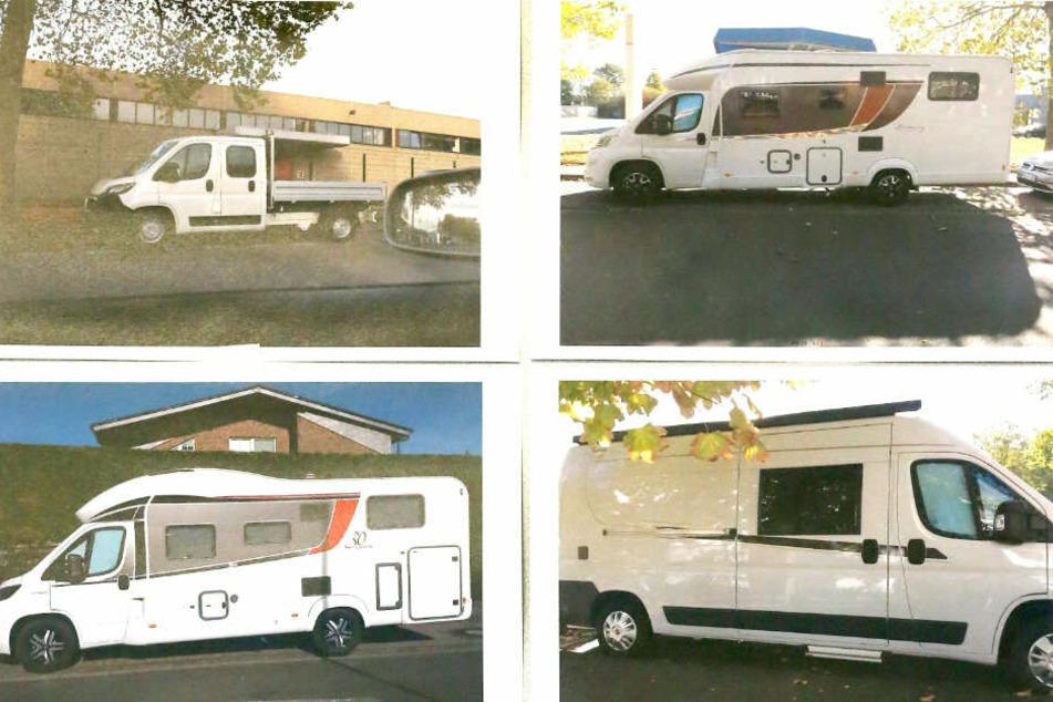 Polizeifotos zeigen eine Auswahl der gestohlenen Wohnmobile.