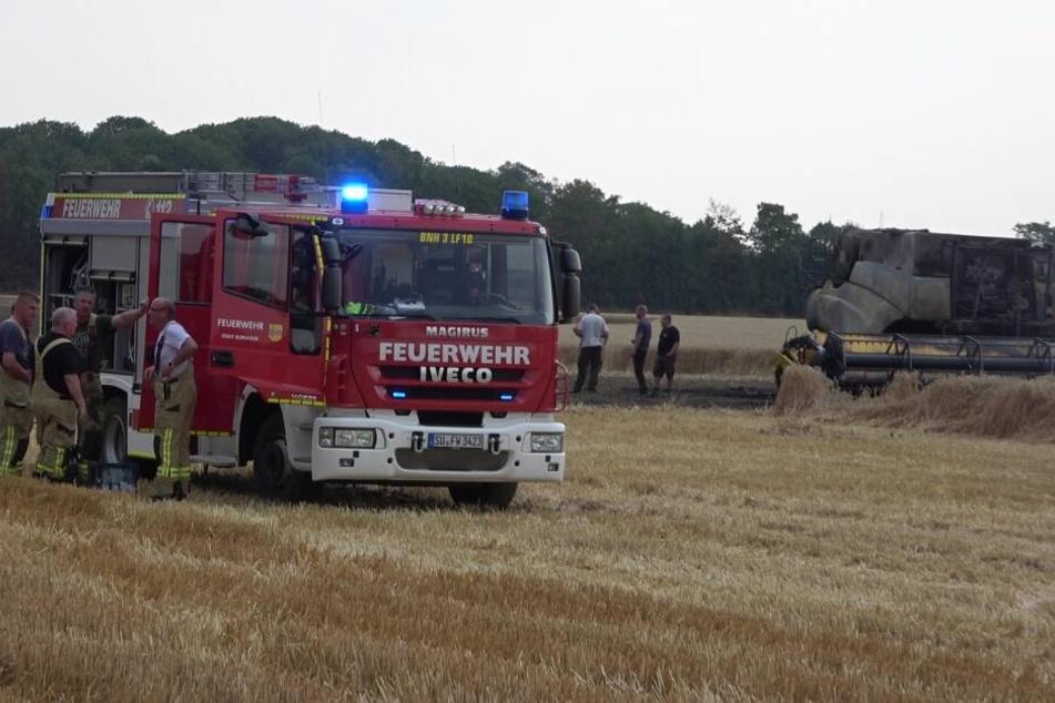 Der Mähdrescher auf dem Feld bei Brühl war am Freitag komplett ausgebrannt.