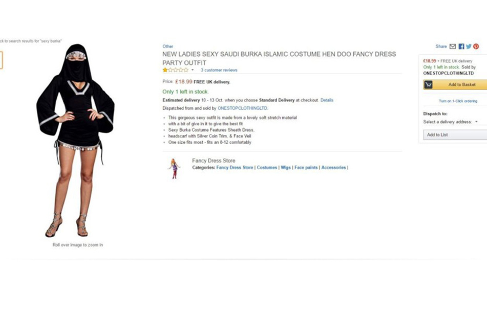 Amazon empört seine Kunden weltweit mit diesem sexy Burka-Kostüm.