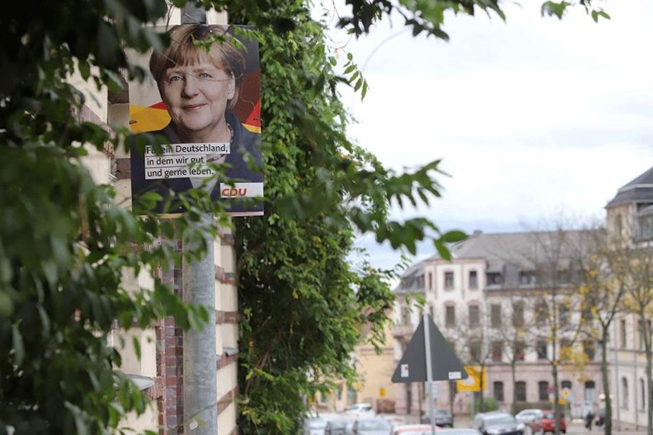 Bundeskanzlerin abzuholen: Ein CDU-Bild im Ortsteil Hilbersdorf.