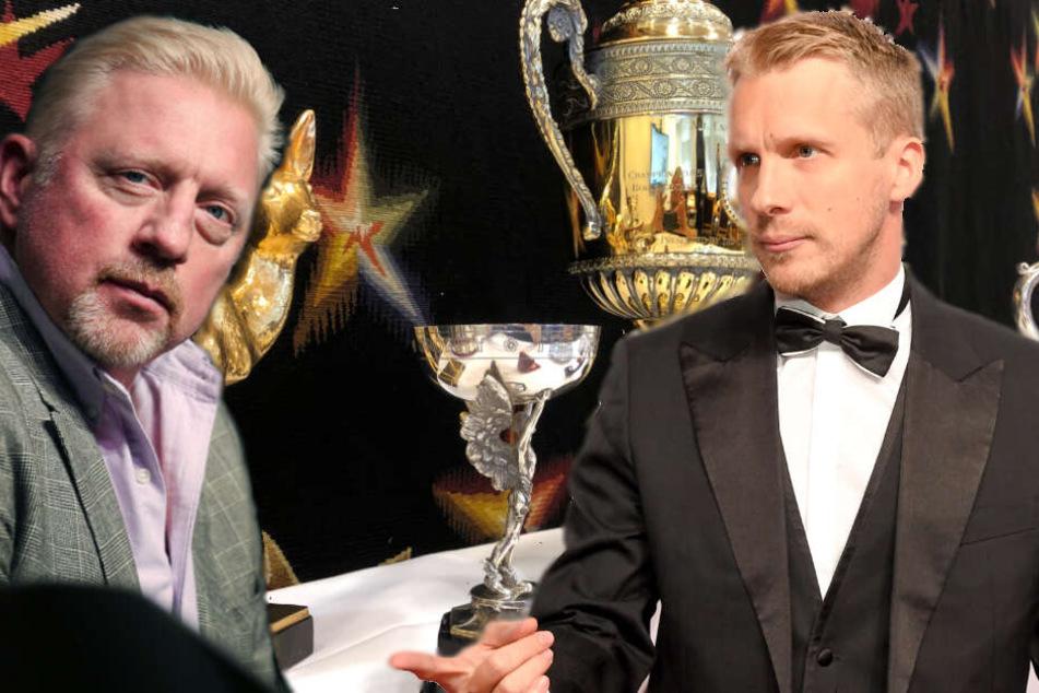 Doch kein Diss? Oliver Pocher (re.) hatte mit der Ersteigerung zweier Memorabilia von Boris Becker (li.) angeblich nur Gutes im Sinn.