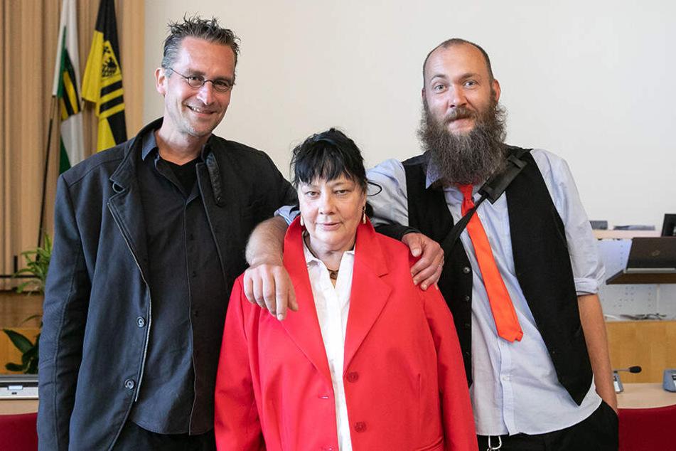 Sie reichten den Eilantrag zum Klimanotstand ein: Martin Schulte-Wissermann (48, Piraten, l.), Manuela Graul (56, Freie Bürger) und Max Aschenbach (34, Die Partei).
