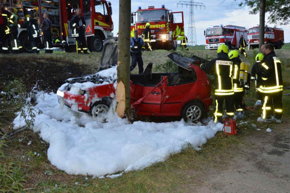VW prallt gegen Baum: Fahrer entgeht nur knapp Feuertod