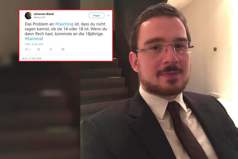 Der saarländische AfD-Mann Johannes Biesel mit seinem Posting zum Thema Karneval. Mittlerweile hat er den Ausgangs-Beitrag gelöscht.