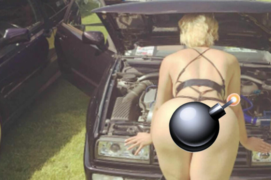 Wer wirft bei diesem Promi-Knackarsch noch einen Blick unter die Motorhaube?
