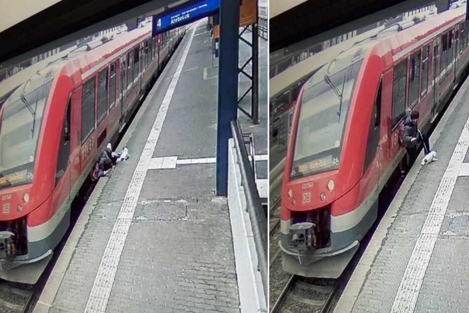 Der Mann wurde zwischen Bahnsteigkante und Zug eingeklemmt.