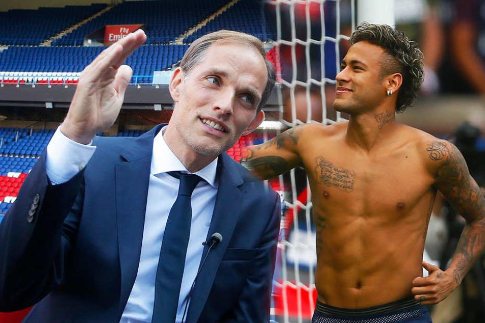 PSG-Trainer Thomas Tuchel (l.) darf entscheiden, ob Neymar (r.) bleibt oder abgegeben wird.