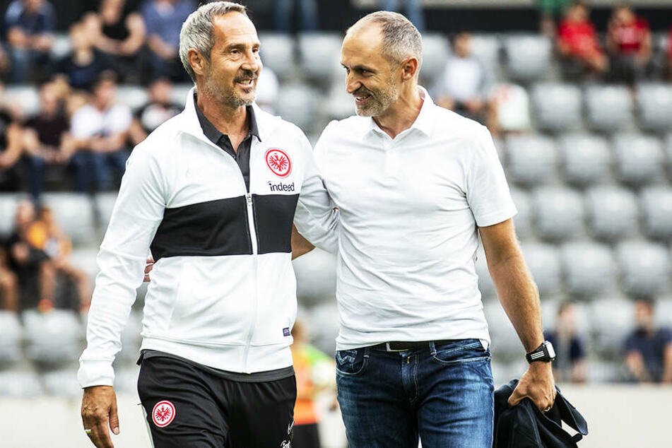 SGE-Coach Adi Hütter (l.) durfte sich diesmal über eine deutlich verbesserte Leistung seiner Mannschaft freuen. Hier ist der Trainer im Gespräch mit Kollegen Thomas Haeberli von Luzern.