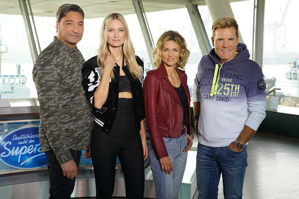 Die aktuelle DSDS-Jury: Mousse T. (von links nach rechts), Carolin Niemczyk, Ella Endliche und Dieter Bohlen.