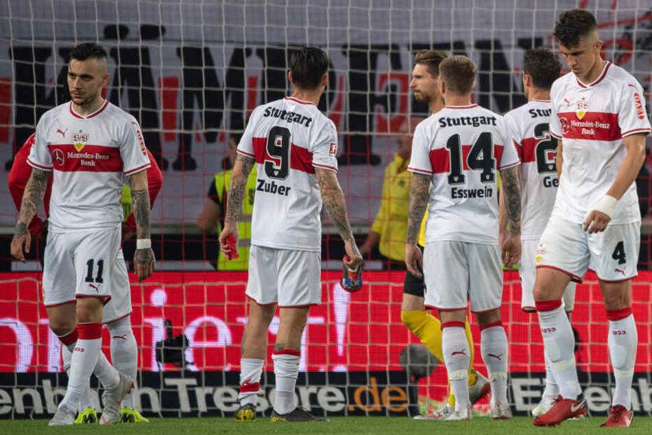 VfB-Spieler nach der Partie gegen Union Berlin am Donnerstag. Gute Stimmung sieht anders aus.