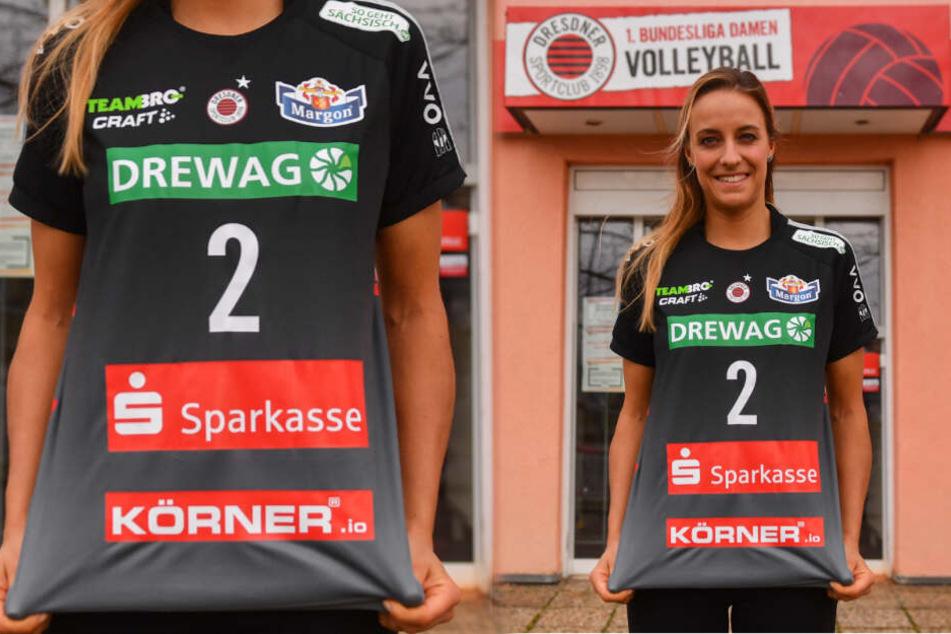 Die DSC-Spielerinnen um Lenka Dürr werden heute die extra fürs Pokalfinale gefertigten Shirts tragen.