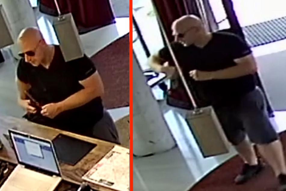Mit diesen Aufnahmen einer Überwachungskamera sucht die Berliner Polizei den auffälligen Glatzen-Mann.