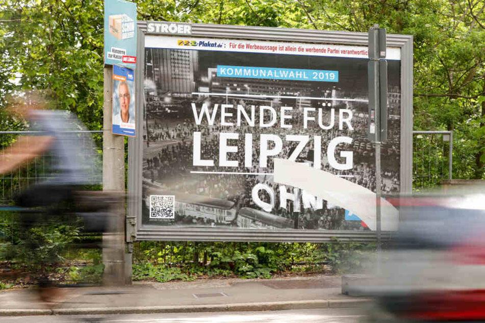 Der Ursprung des Unmuts: Dieses AfD-Wahlplakat sorgt derzeit für Ärger in Leipzig.
