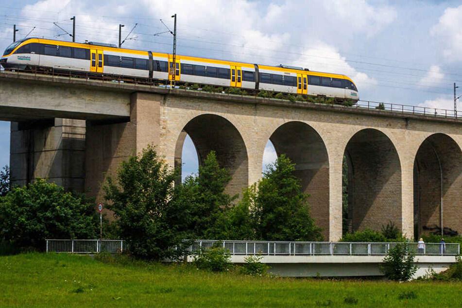 Das Viadukt in Bielefeld ist eine beliebte Route, über die hier gerade eine Regionalbahn in NRW fährt. (Symbolbild)
