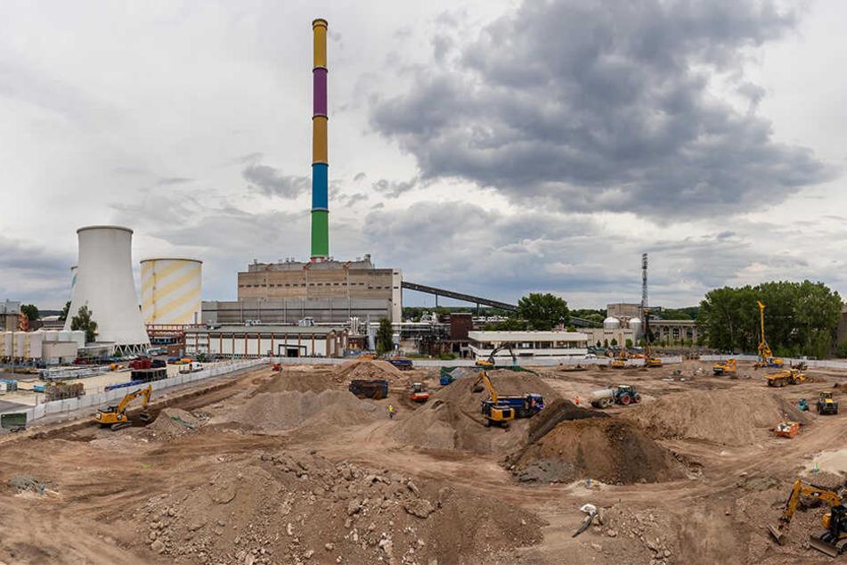 Blick über die aktuelle Baustelle am Heizkraftwerk Nord.