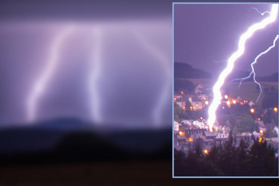 Heftige Gewitter im Erzgebirge! Hier schlägt ein Mega-Blitz ein