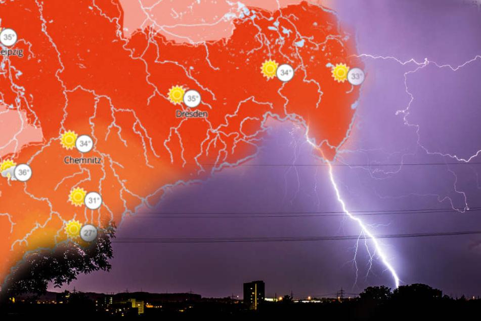 In Sachsen, Sachsen-Anhalt und Thüringen muss mit starkem Gewitter und Regen gerechnet werden.