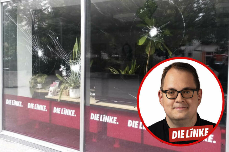 An der Schaufensterscheibe sind noch Spuren der Attacke zu sehen.