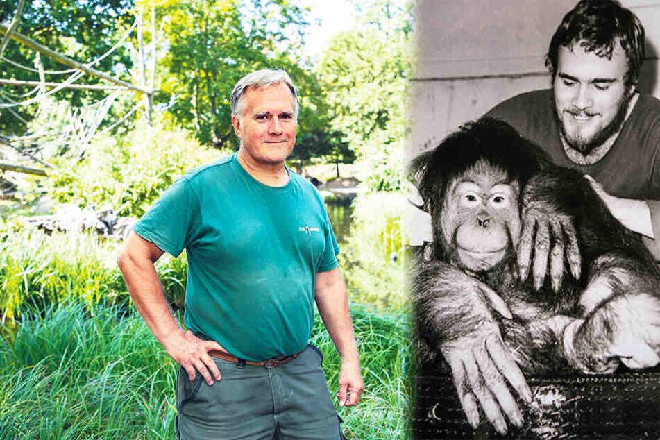 """Kümmert sich seit 1972 um """"seine"""" Djaka: Revierleiter Gerd Grätz (63). Beide zusammen im Jahr 1982 (r.). (Bildmontage)"""