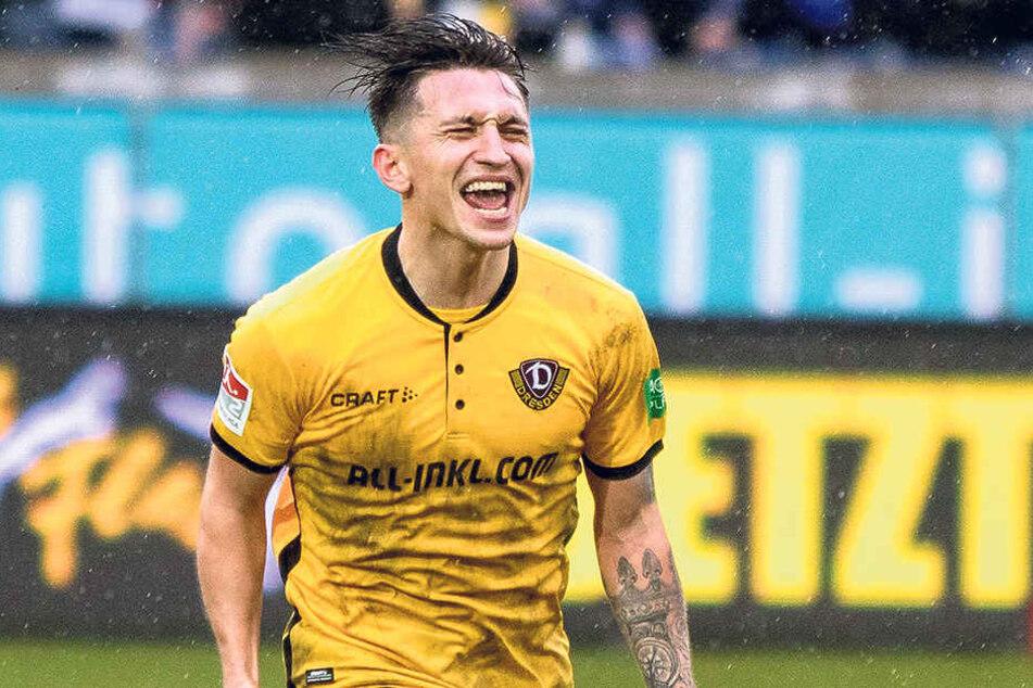 Baris Atik schreit jubelnd seine Freude über den Treffer in Duisburg heraus. Es war sein bisher bester Auftritt für Dynamo.