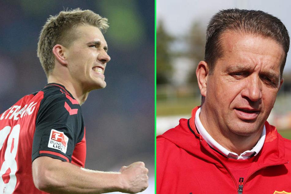 Nils Petersen (links) freut sich auf das Familienduell im DFB-Pokal. Für Vater Andreas (rechts) ist der SC Freiburg das Traumlos.