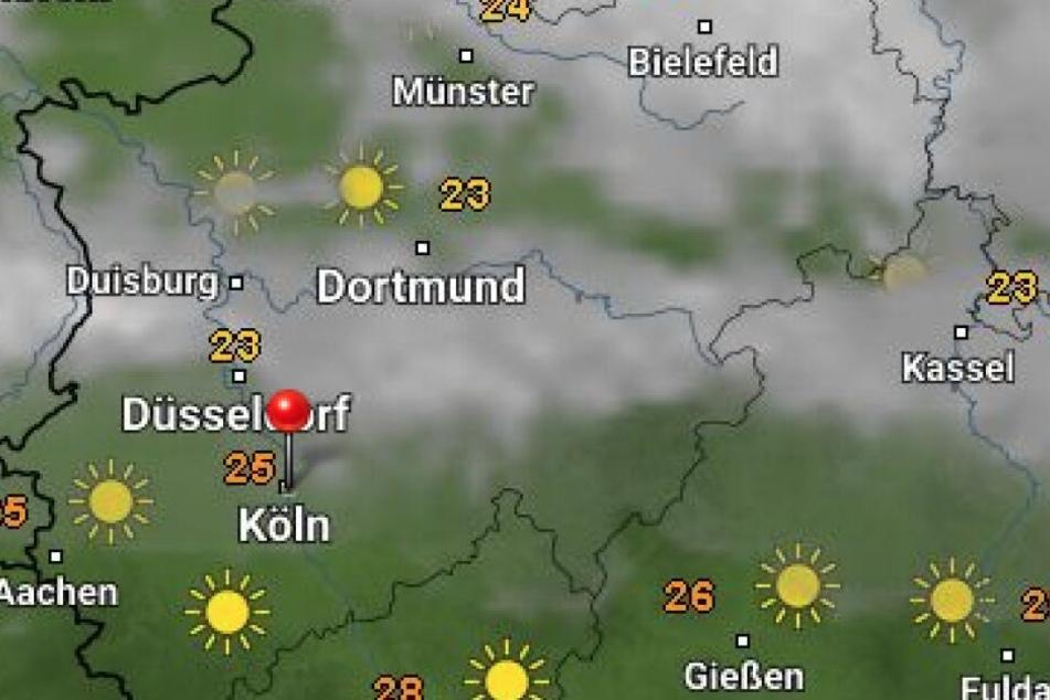 """Die Wetterprognose für NRW von """"Wetter Online""""."""
