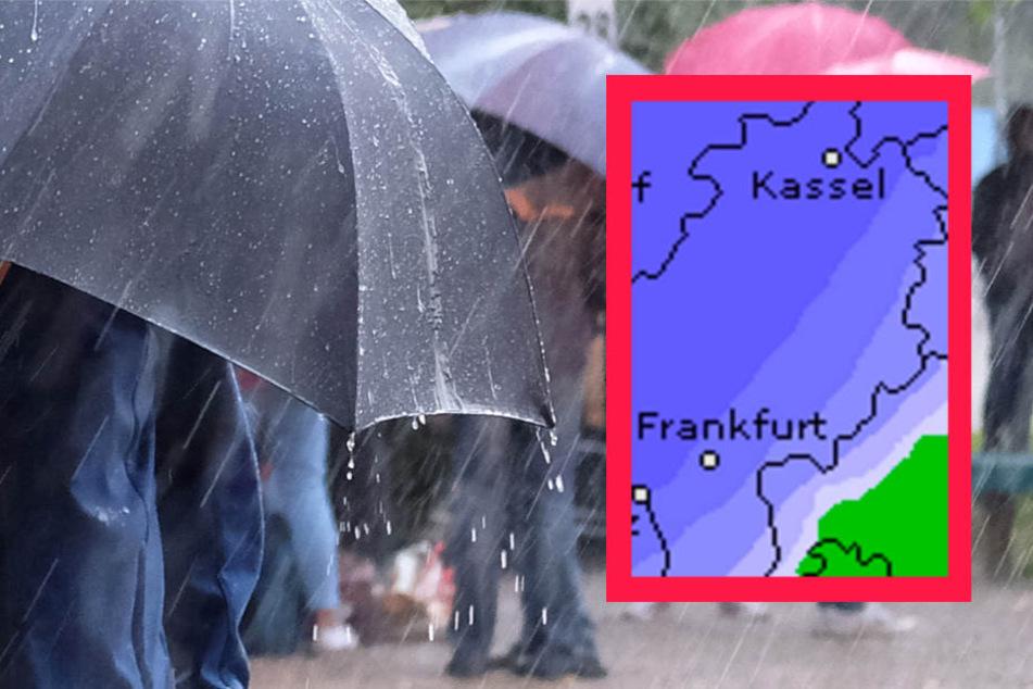 In ganz Hessen muss am Donnerstag mit hohen Niederschlagsmengen gerechnet werden.