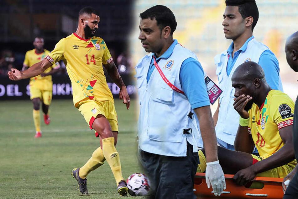 Für Cebio Soukou (l.) und Mickaël Poté (r.), der verletzt in der 77. Minute vom Platz getragen werden musste, ist das Fußballmärchen mit dem Benin vorbei. (Bildmontage)