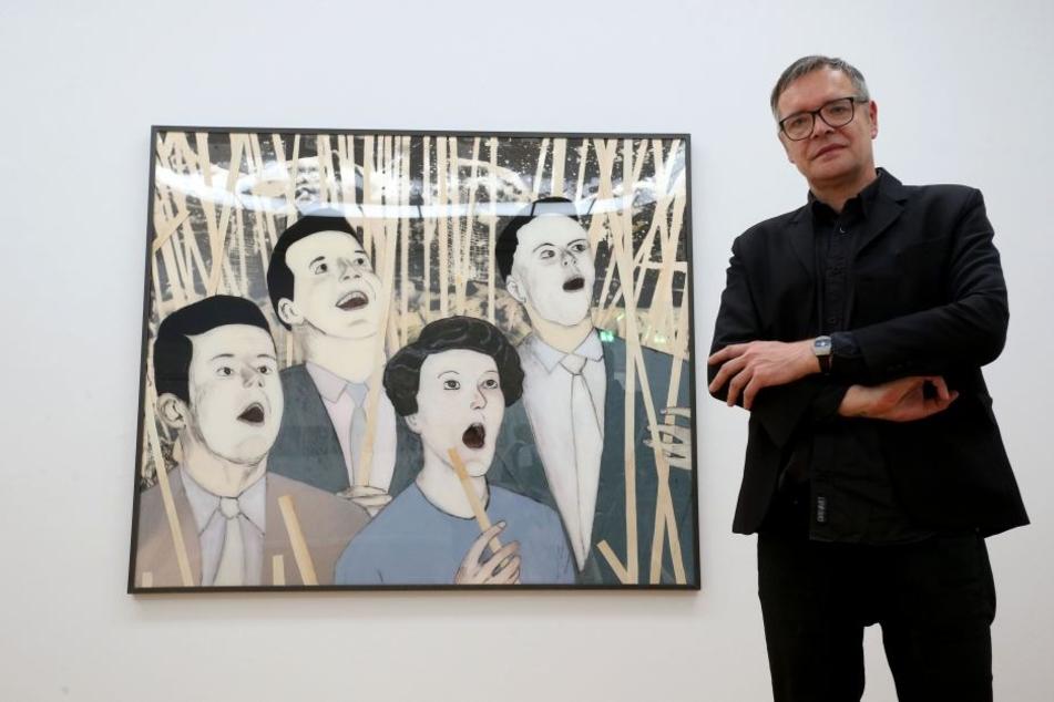 """Endlich in den Kunstsammlungen: Kunst-Urgestein Jan Kummer (52) vor einem der """"Ohnmacht &  Ekstase""""-Glasbilder."""