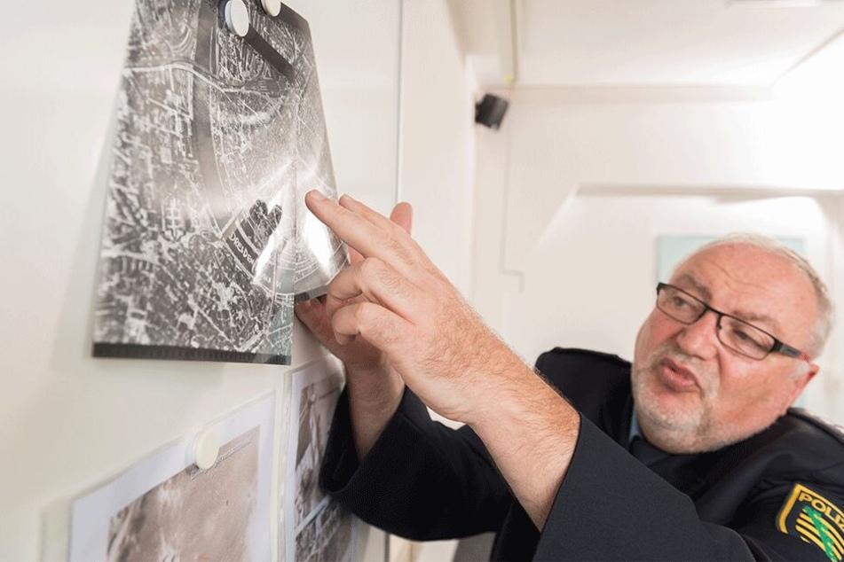 Jürgen Scherf (59), Sprecher des Polizeiverwaltungsamtes, erklärt die geplanten Abläufe nach dem Bombenfund in Löbtau.