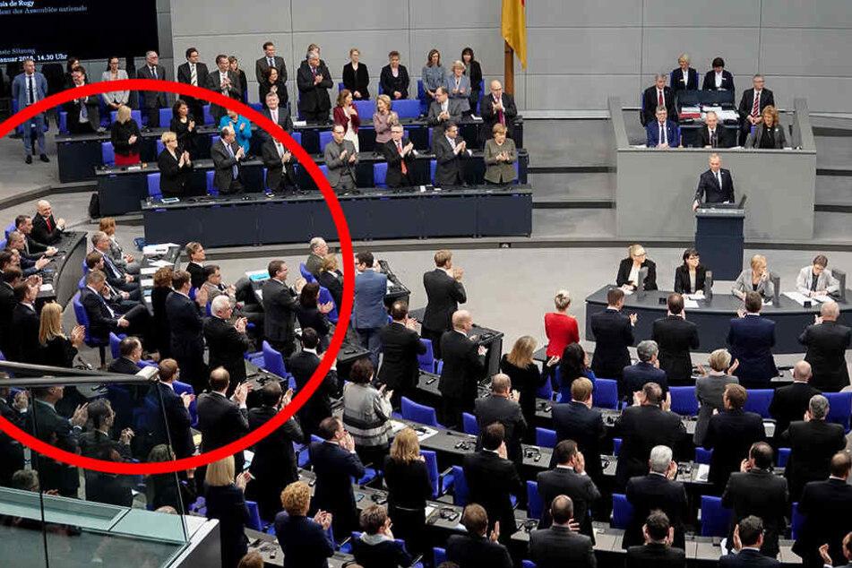 Frenetischer Beifall für François de Rugy, doch die AfD erhebt sich nicht von ihren Sitzen.