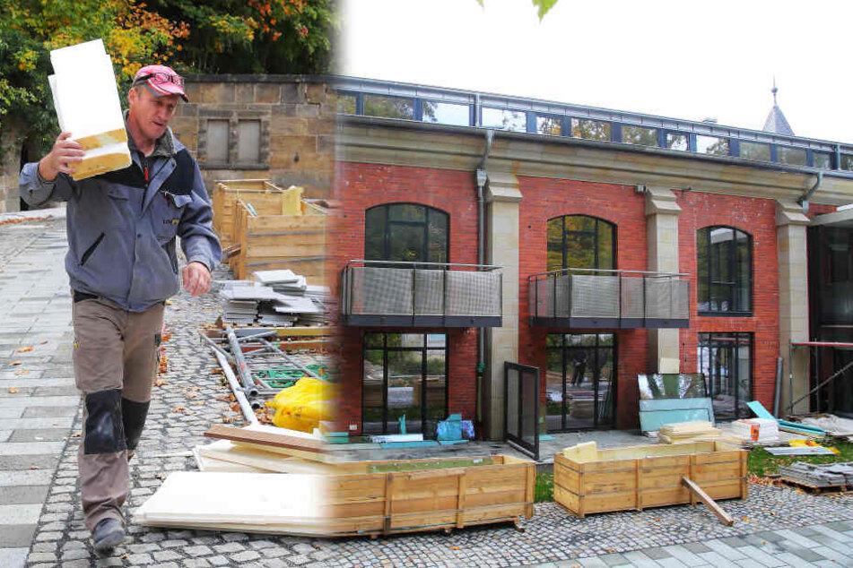 """Im Innenhof wird noch gearbeitet. Blick aufs Kesselhaus (Ostseite), in dem sich auch """"Biko"""" eine Wohnung gekauft hat."""