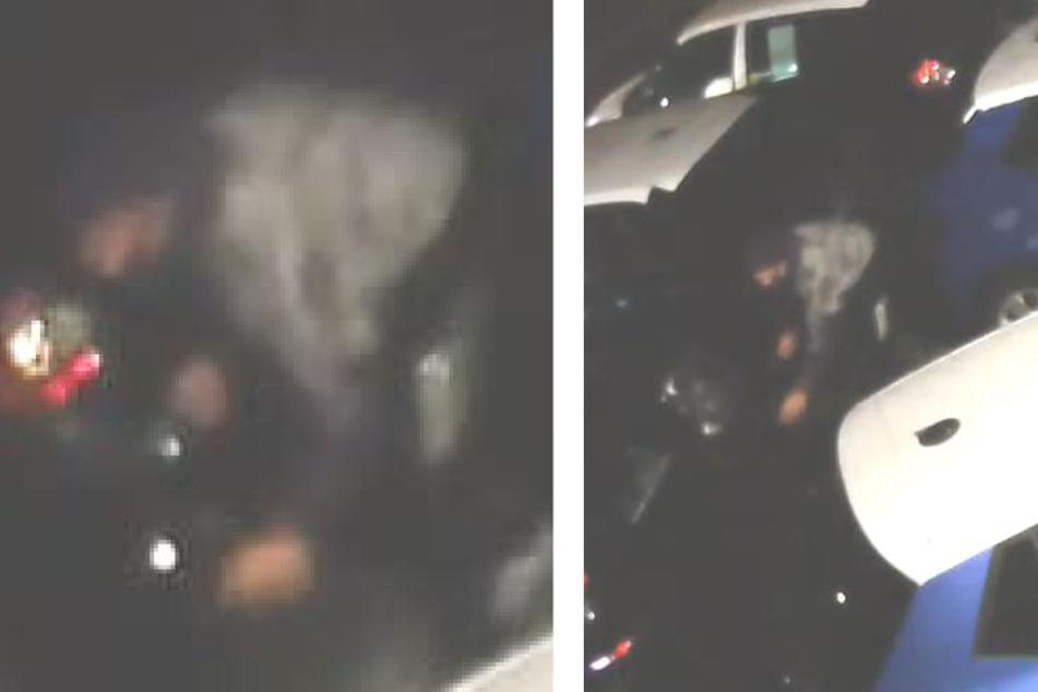 Ein Täter rollt die vier Räder vom Auto weg. Möglich, dass der oder die Diebe aus Polen kamen.