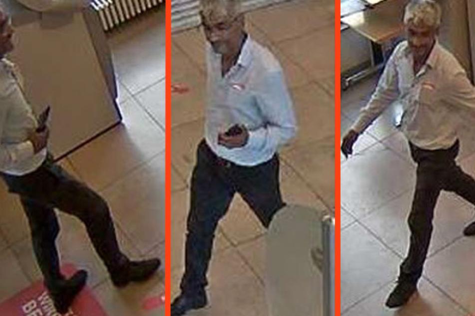 Der unbekannte Täter in der Berliner Sparkasse am Anton-Saefkow-Platz.