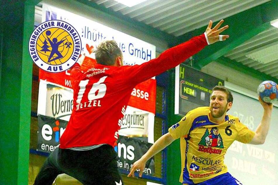 EHV-Keeper Robert Wetzel pariert einen Wurf. Er war in Nordhorn einer der Wenigen, die Leistung zeigten.